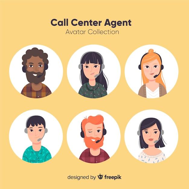 Divers avatars de centres d'appels en style plat Vecteur gratuit