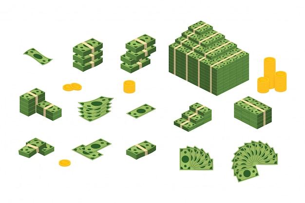 Divers Billets De Banque Dollar Cash Papier Billets De Banque Ensemble Vecteur Premium