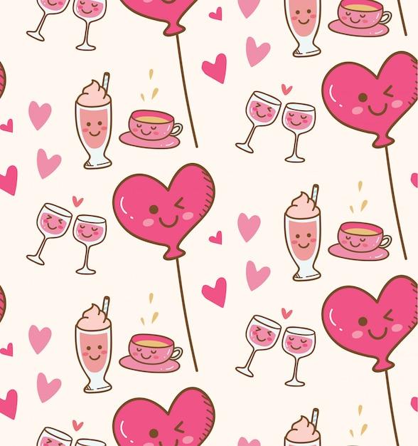 Divers boisson avec ballon coeur rose en arrière-plan kawaii Vecteur Premium