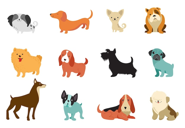 Divers Chiens - Collection D'illustrations Vectorielles. Dessins Animés Drôles, Différentes Races De Chiens, Style Plat Vecteur Premium
