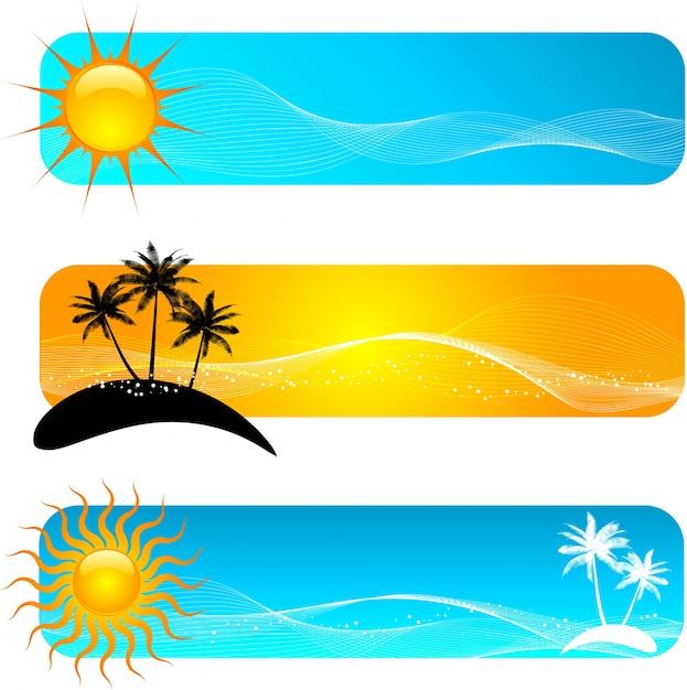 Divers Designs De Bannière Tropicale Vecteur gratuit