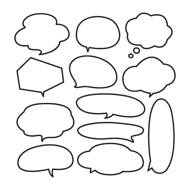 Divers doodle bulle mignon Vecteur Premium