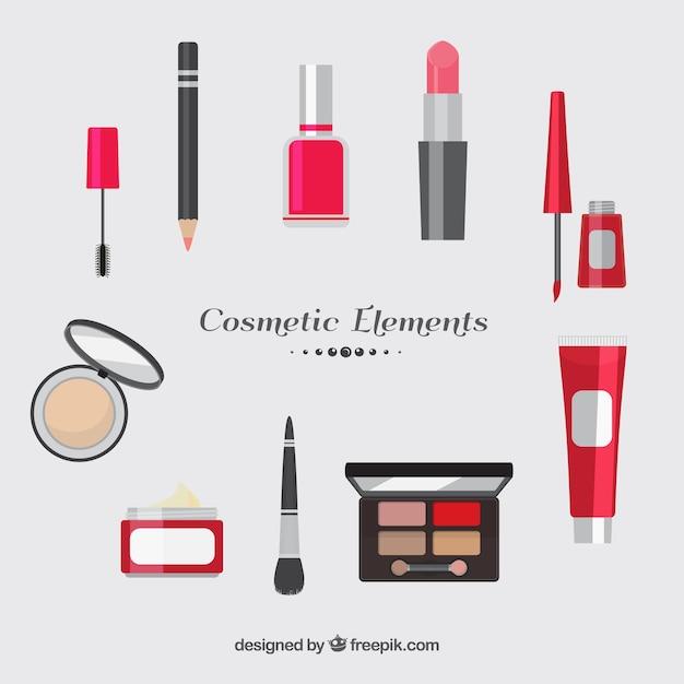 Divers éléments cosmétiques design plat Vecteur gratuit