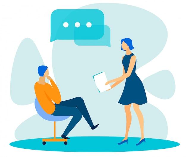 Divers Employés De Bureau Ayant Un Dialogue Vecteur Premium