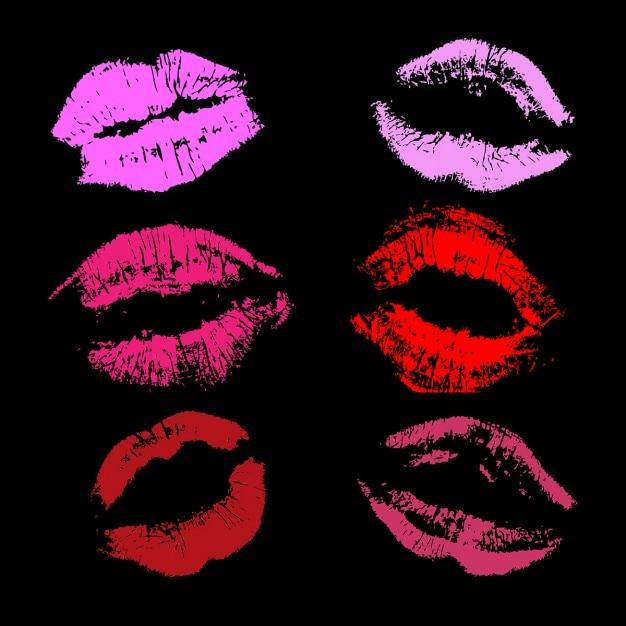 Divers gravures de rouge à lèvres Vecteur gratuit