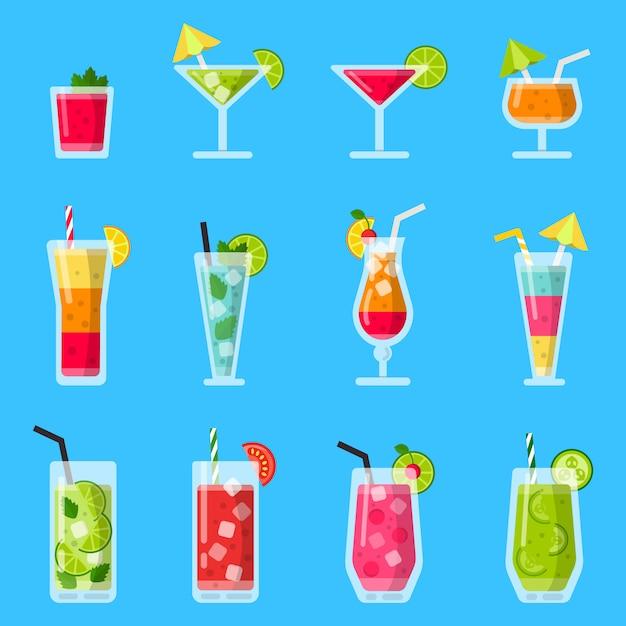 Divers jus de fruits frais et des cocktails. Vecteur Premium