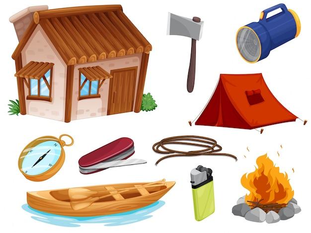 Divers Objets De Camping Vecteur Premium