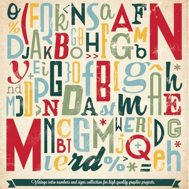 Divers retro vintage typographie collection Vecteur gratuit