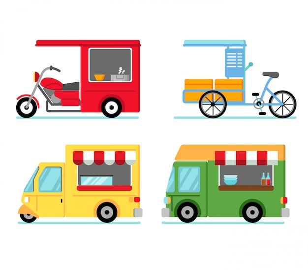 Divers véhicules utilisant des stands de nourriture dans la rue Vecteur Premium
