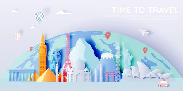 Diverses attractions touristiques dans le style du papier Vecteur Premium