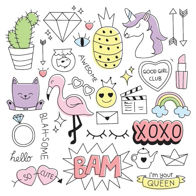 Diverses choses mignonnes dans l'illustration vectorielle de style doodle Vecteur Premium