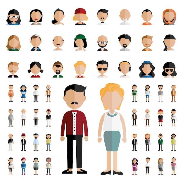 Diversity community people flat design icons concept Vecteur gratuit