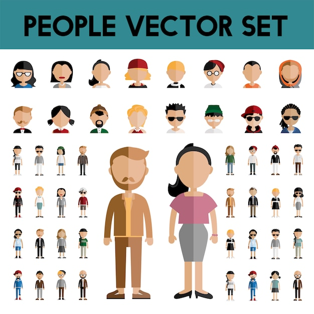 Diversity community people flat design icons concept Vecteur gratuit