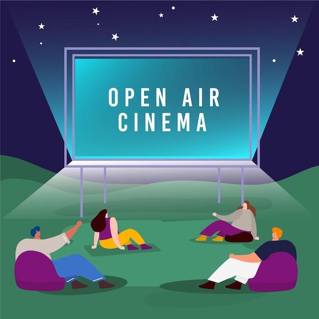 Divertissement De Cinéma En Plein Air Vecteur gratuit