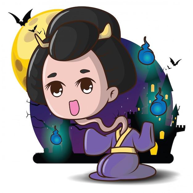 Divinité japonaise de dessin animé japonais rokurokubi ghost du concept halloween de religion populaire japonaise Vecteur Premium