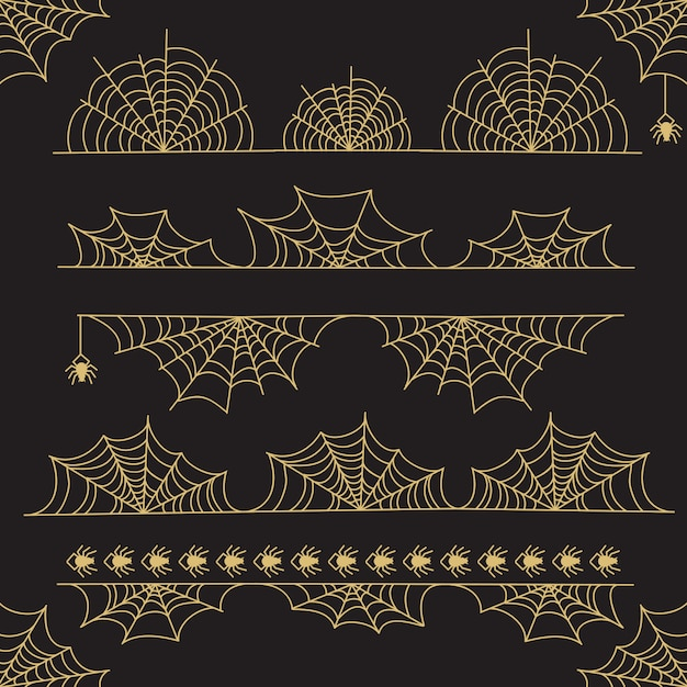 Diviseurs Et Bordure De Cadre Halloween Or Vecteur Premium