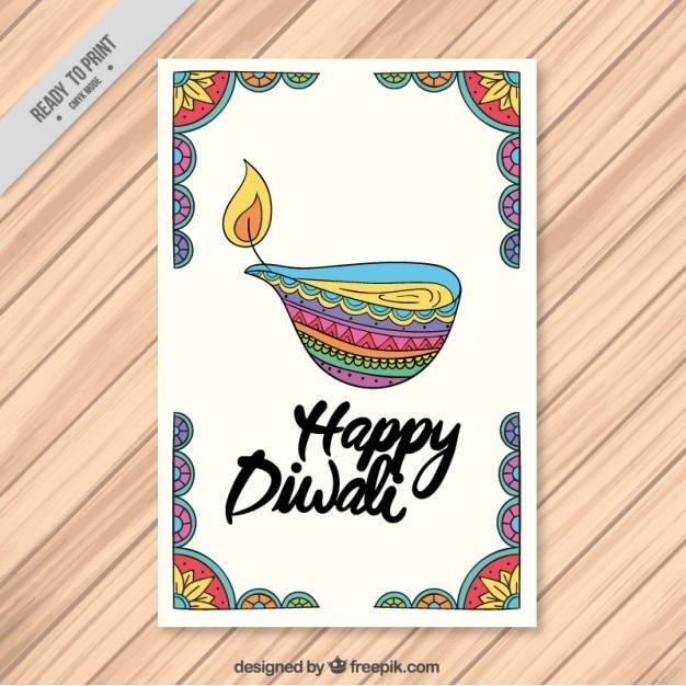 Diwali brochure de bougie décorative de couleur dessinée à la main Vecteur gratuit