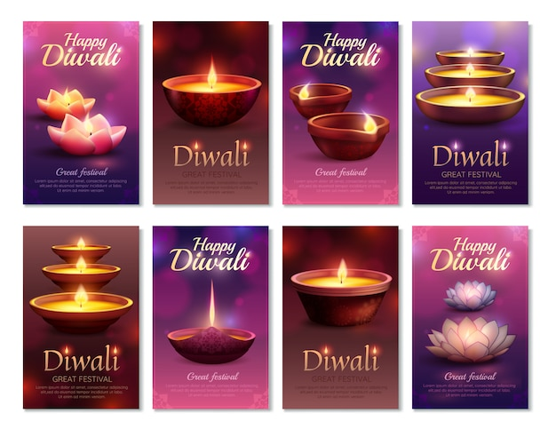 Diwali celebration cartes verticales Vecteur gratuit