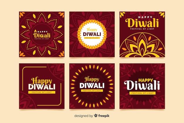 Diwali célébration instagram post collection Vecteur gratuit