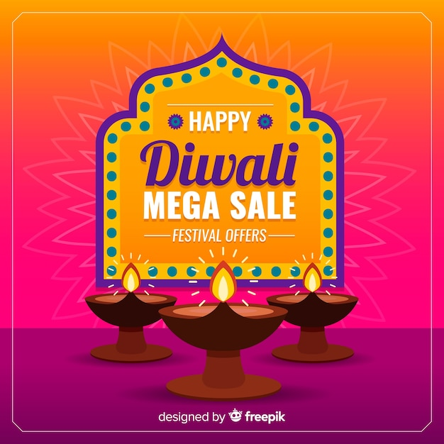 Diwali coloré vente au design plat Vecteur gratuit
