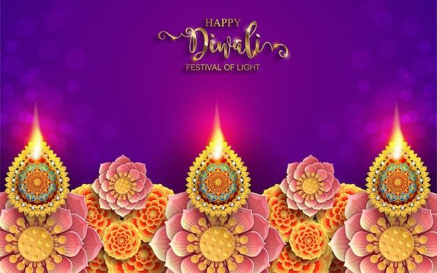 Diwali, deepavali ou dipavali, le festival des lumières indiennes à la diya d'or et à cristaux sur papier Vecteur Premium