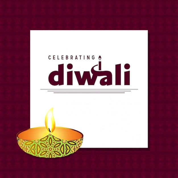Diwali design fond sombre et vecteur de typographie Vecteur gratuit