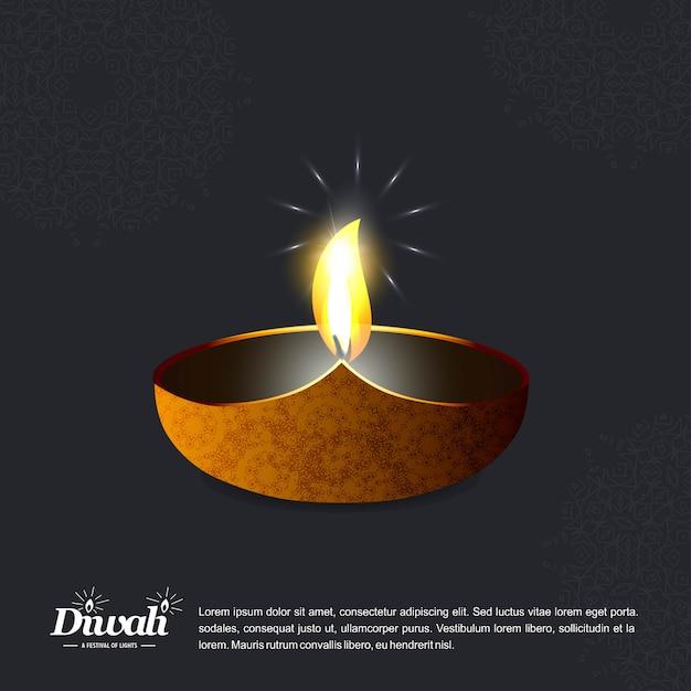 Diwali design avec fond sombre et vecteur de typographie Vecteur gratuit