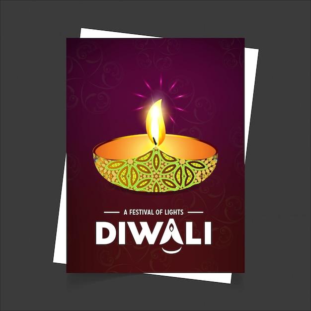 Diwali design fond sombre et vecteur de typographie Vecteur Premium