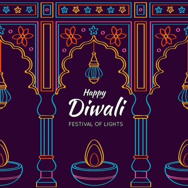 Diwali Dessiné à La Main Vecteur gratuit