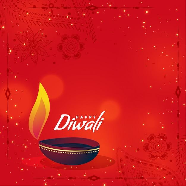 Diwali diya créative sur fond rouge avec espace de texte Vecteur gratuit