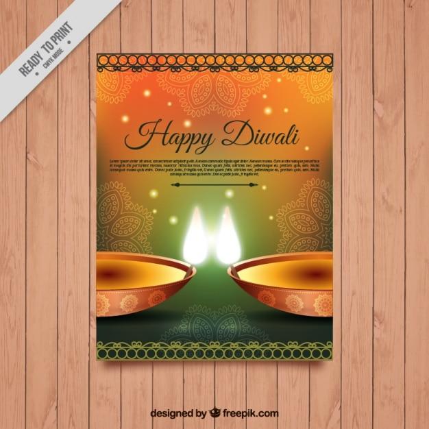 Diwali festival brochure sur papier glacé dans un style élégant Vecteur gratuit