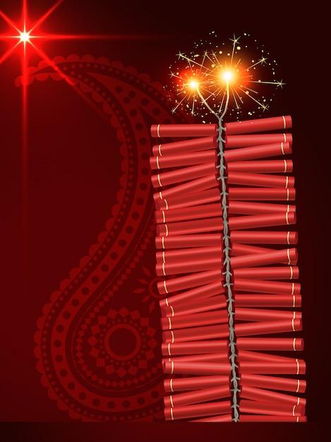 Diwali Festival Crackers Sur Fond Rouge Artistique Vecteur gratuit