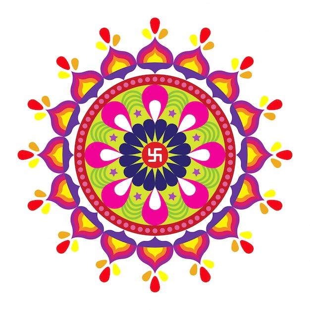 Diwali (festival Indien Des Lumières) Avec Un Design Floral Rayoli Coloré. Vecteur Premium