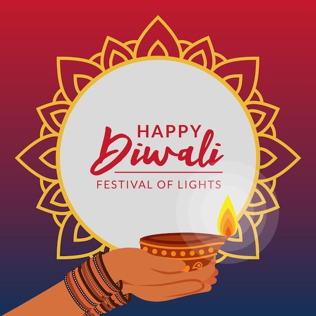Diwali fête créative salutation Vecteur Premium