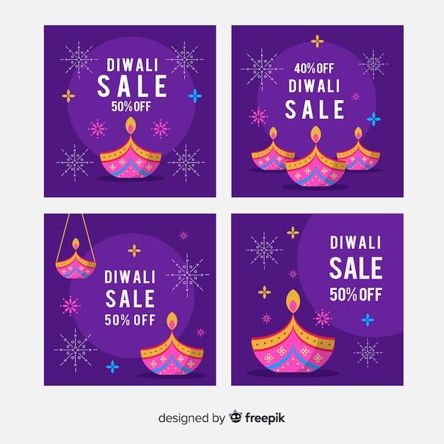 Diwali Instagram Night Purple Nuances Post Collection Vecteur gratuit