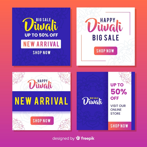 Diwali instagram post collection Vecteur gratuit