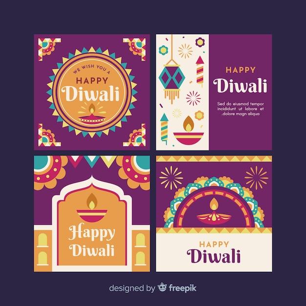 Diwali instagram post collection Vecteur gratuit