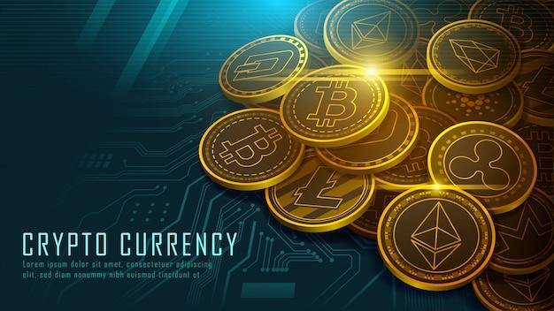 Dix crypto-monnaie célèbres Vecteur Premium