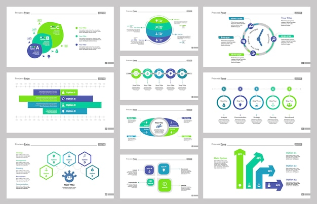 Dix modèles de diapositives de production Vecteur gratuit