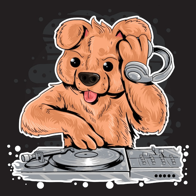 Dj teddy bear house music party Vecteur Premium