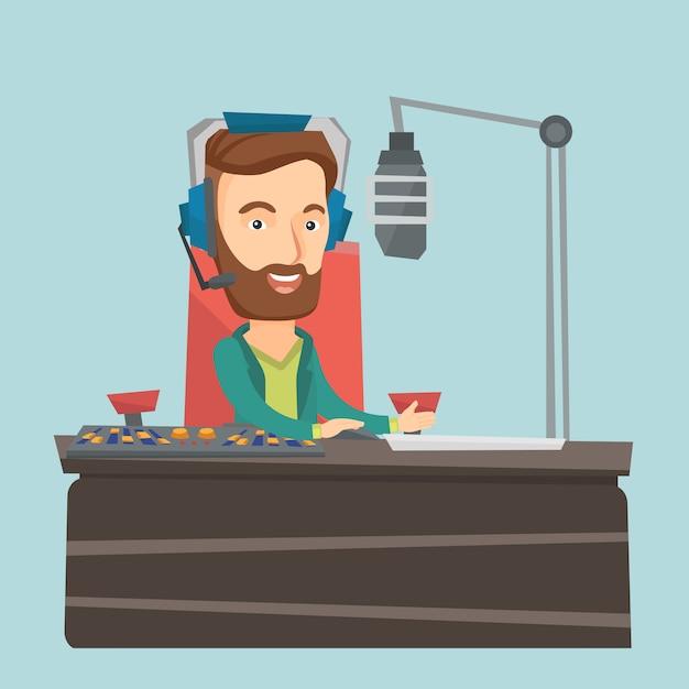 Dj travaillant sur l'illustration vectorielle radio Vecteur Premium