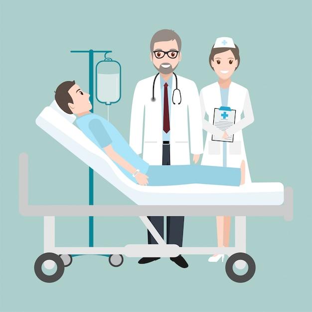 Docteur chèque patient au lit d'hôpital avec un compte-gouttes Vecteur Premium