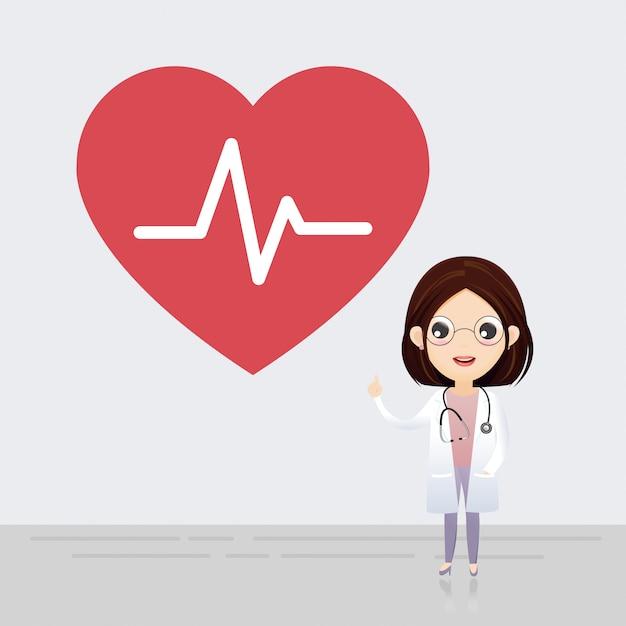 Docteur debout avec signe de battement de coeur. Vecteur Premium