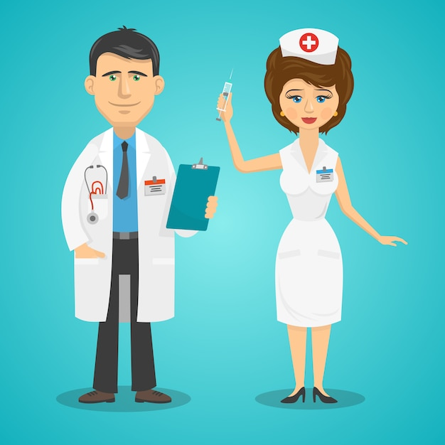 Docteur et infirmière Vecteur gratuit