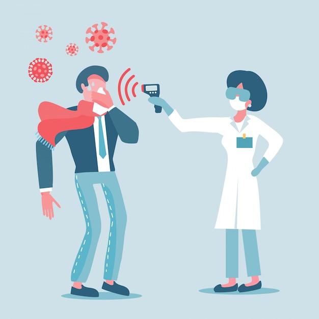 Le Docteur En Masque De Protection Mesure La Température De L'homme En Costume. Mesurez La Fièvre Chez La Personne Infectée Par Le Virus. Vecteur Premium