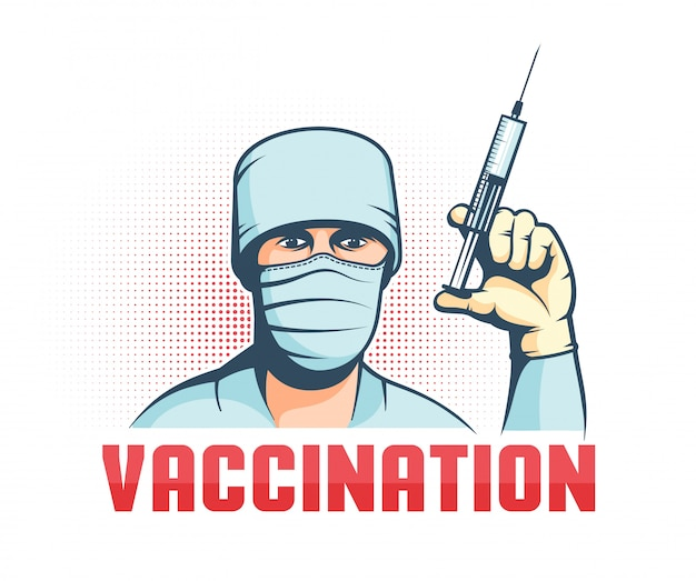 Docteur En Masque Avec Seringue à La Main - Affiche De Vaccination Rétro Vecteur Premium