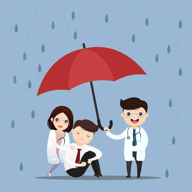 Docteur en médecine soulève un parapluie. Vecteur Premium