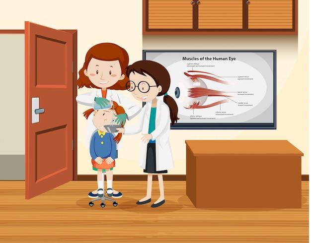Docteur nettoyage femme oeil Vecteur gratuit