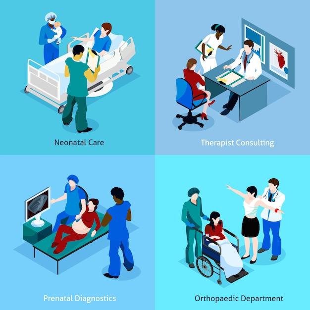 Docteur patient isometric icon set Vecteur gratuit
