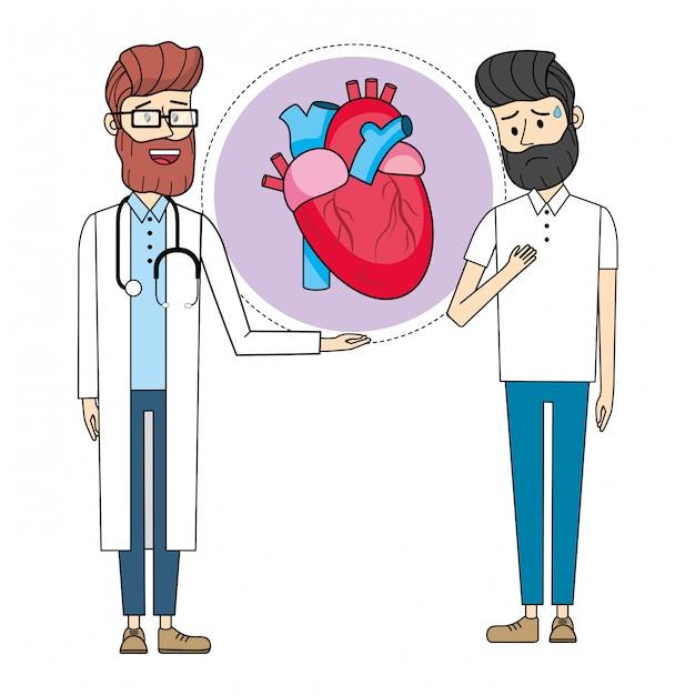 Docteur avec patient Vecteur Premium